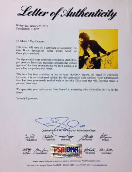 Bruce Springsteen Signed Born to Run Record Album (PSA/DNA)