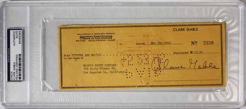 lot detail clark gable superb signed bank check psa dna encapsulated. Black Bedroom Furniture Sets. Home Design Ideas