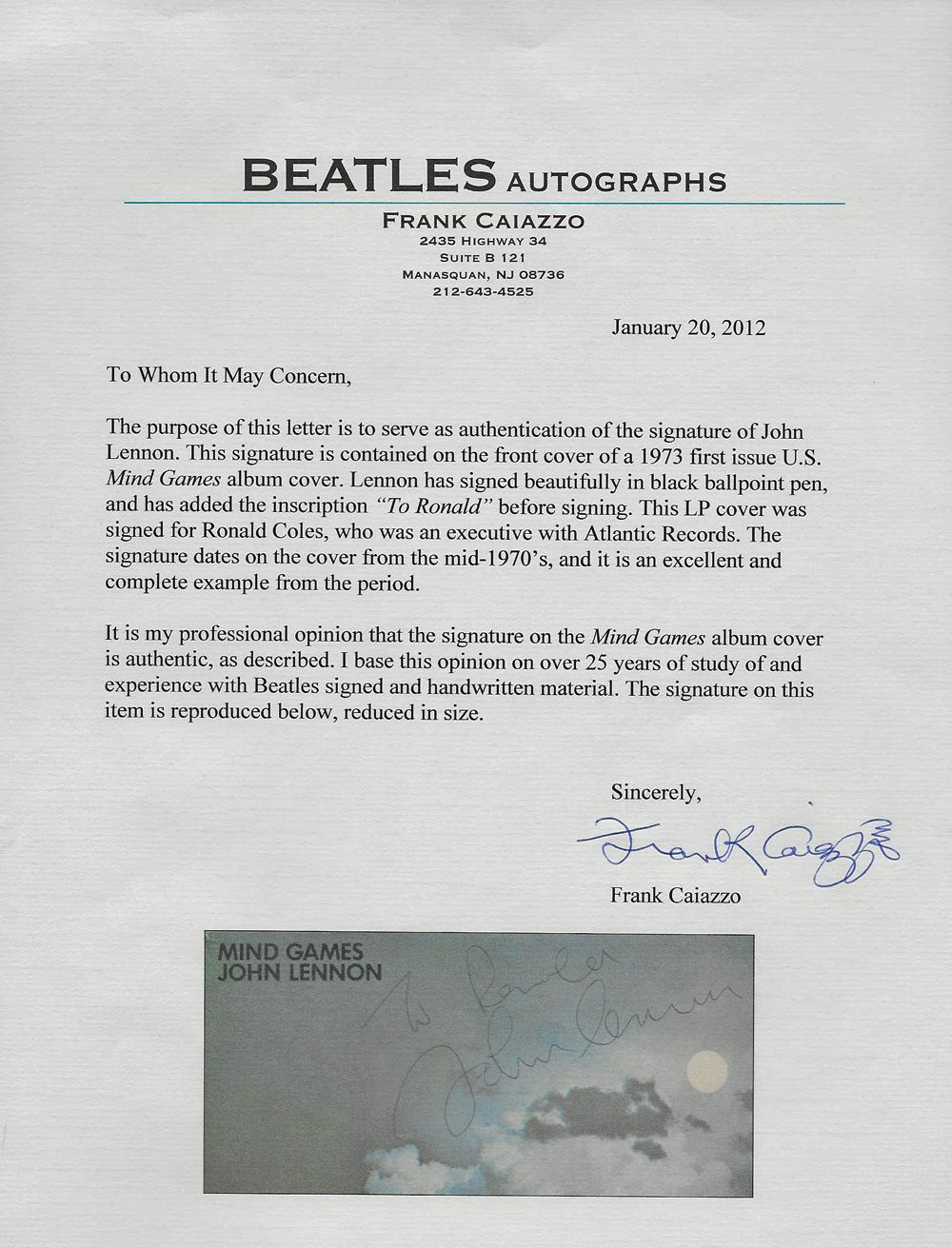 Lot Detail The Beatles John Lennon Extraordinary Signed Album Mind Games One Of The Finest Signed Lennon Albums Extent Caiazzo Perry Cox Loas