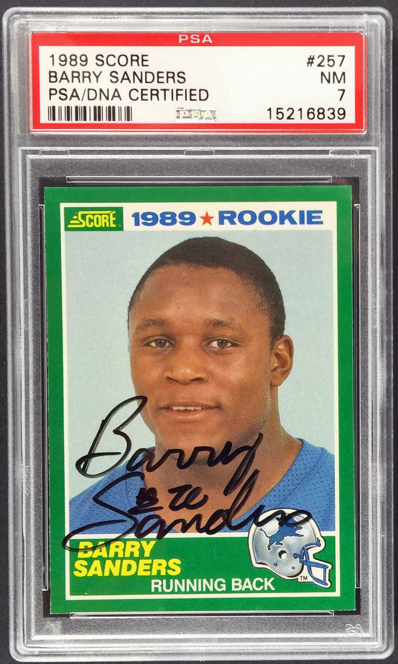 Lot Detail Barry Sanders Signed 1989 Score Rookie Card