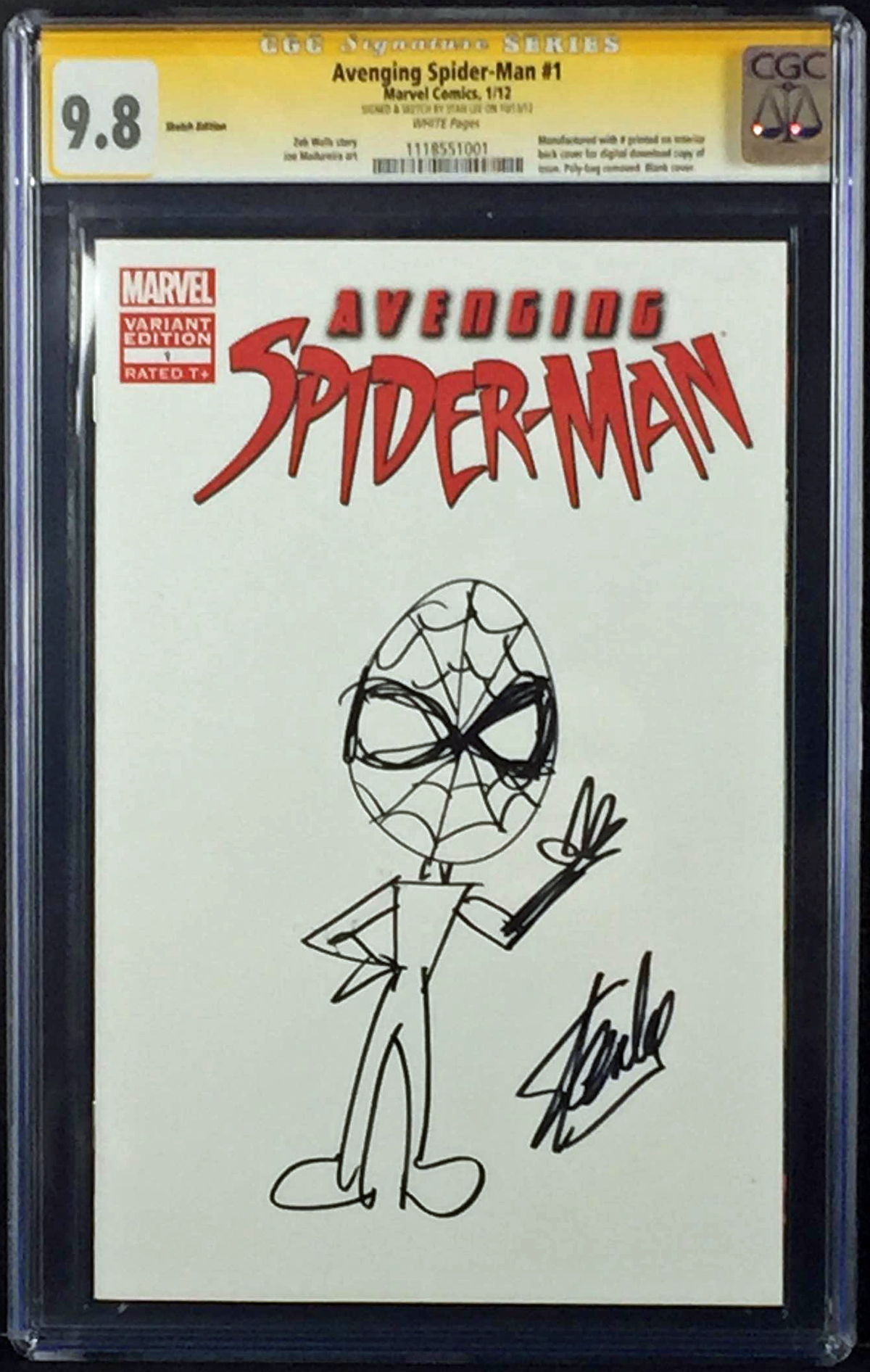 lot detail stan lee signed avenging spiderman 1 comic
