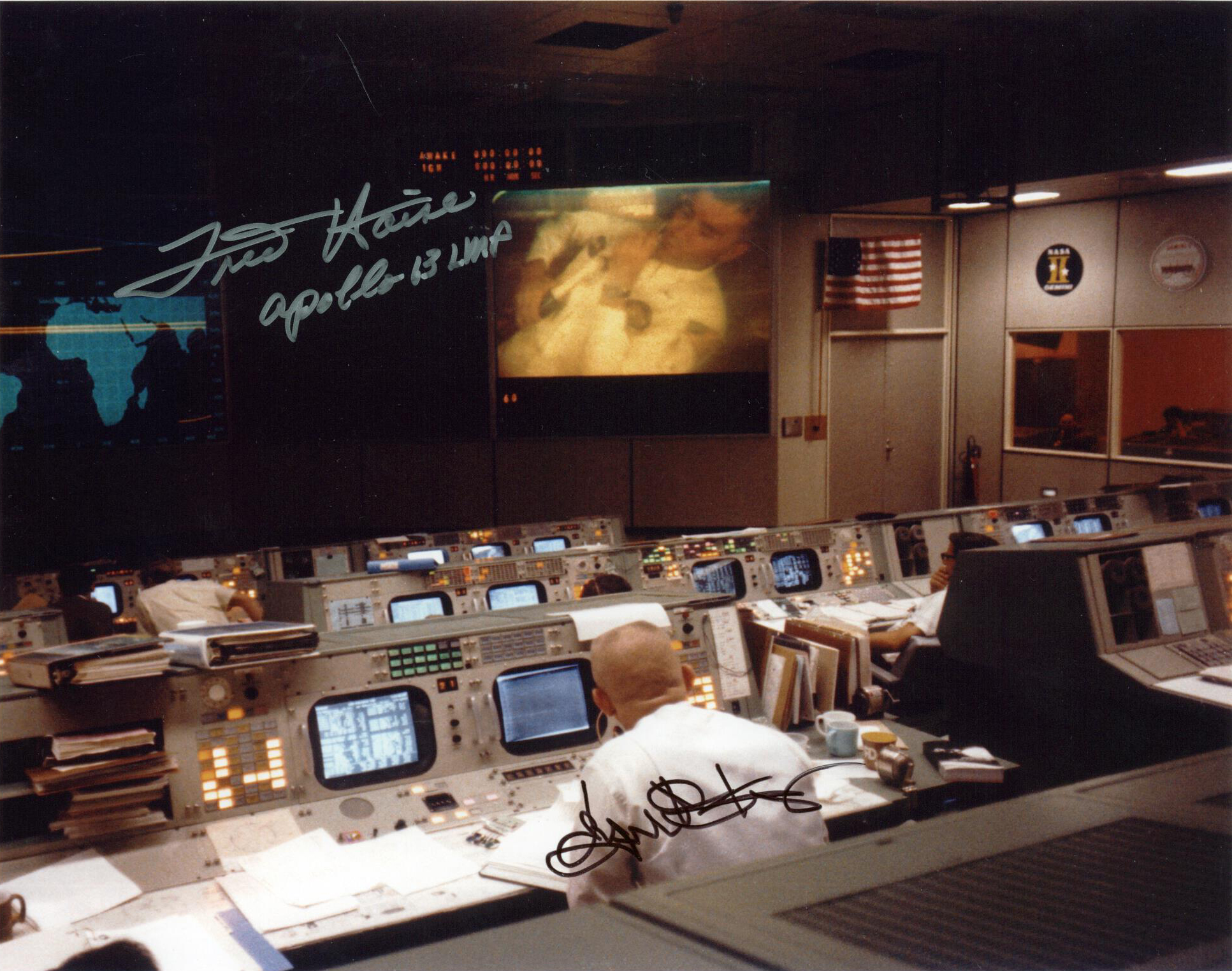 Lot Detail - Apollo 13 Mission Control Signed 10x8 Photo w ...