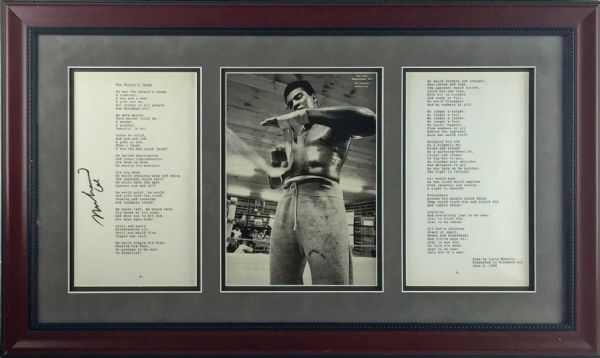 Muhammad Ali Signed The People's Champ Typewritten Poem in Custom Framed Display (JSA)