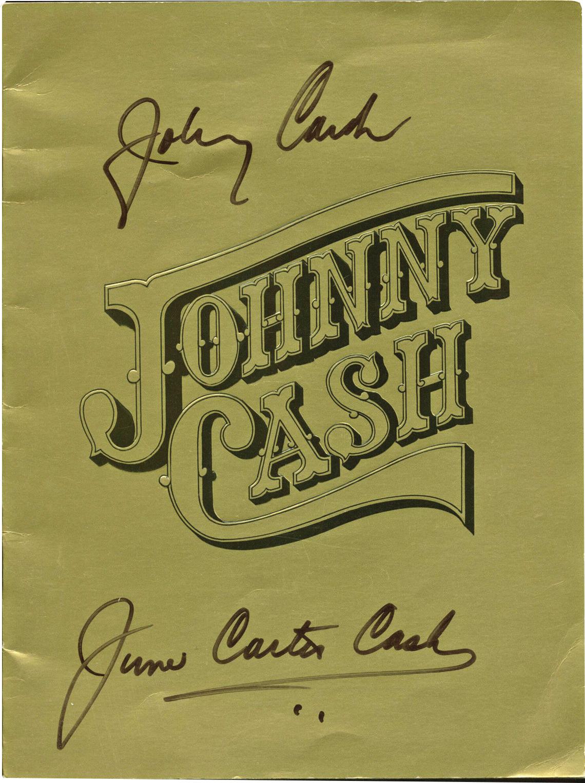 lot detail johnny cash june carter cash dual signed tour program psa dna. Black Bedroom Furniture Sets. Home Design Ideas