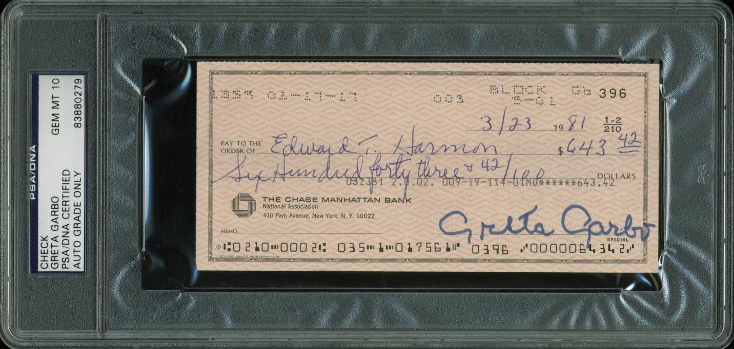 lot detail greta garbo signed near mint 1981 bank check psa dna graded gem mint 10. Black Bedroom Furniture Sets. Home Design Ideas