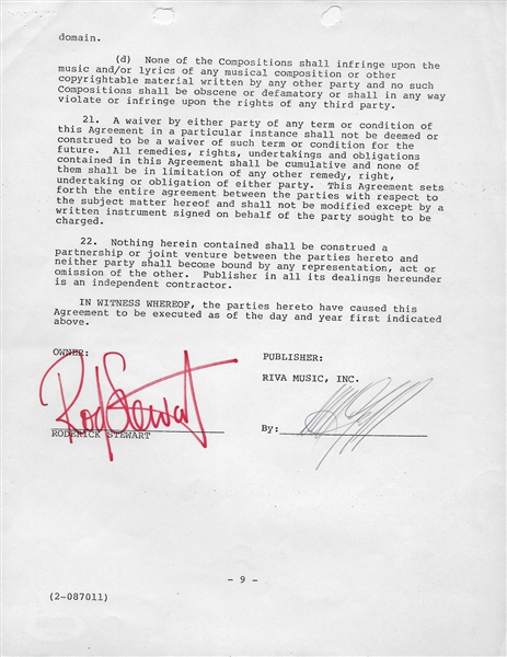 Lot Detail Rod Stewart Signed 12 Page Publishing Agreement With