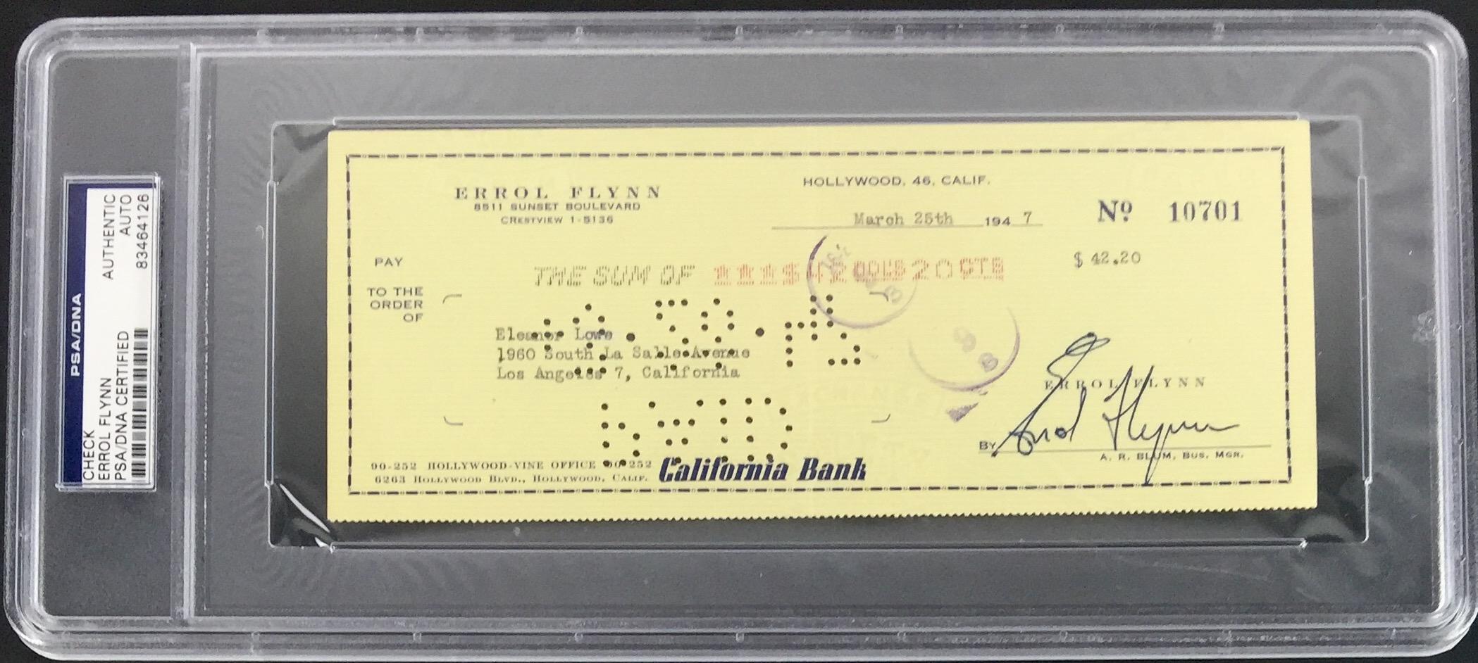 lot detail errol flynn signed vintage bank check c 1947 psa dna encapsulated. Black Bedroom Furniture Sets. Home Design Ideas