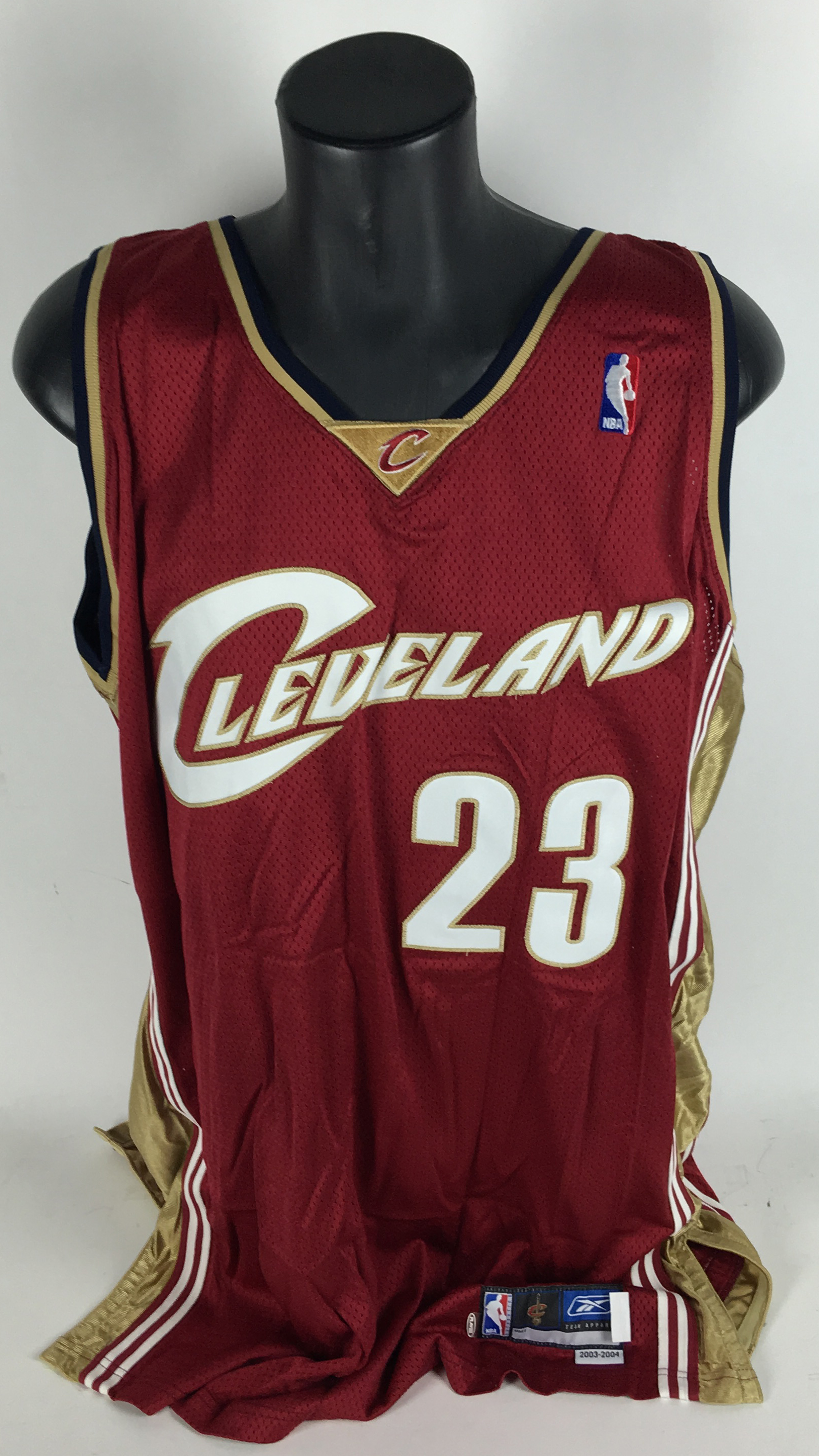 bc87fe629ea4 ... LeBron James Game Used Worn Rookie 2003 04 Cleveland Cavaliers Jersey  (LAMPSON GU ...
