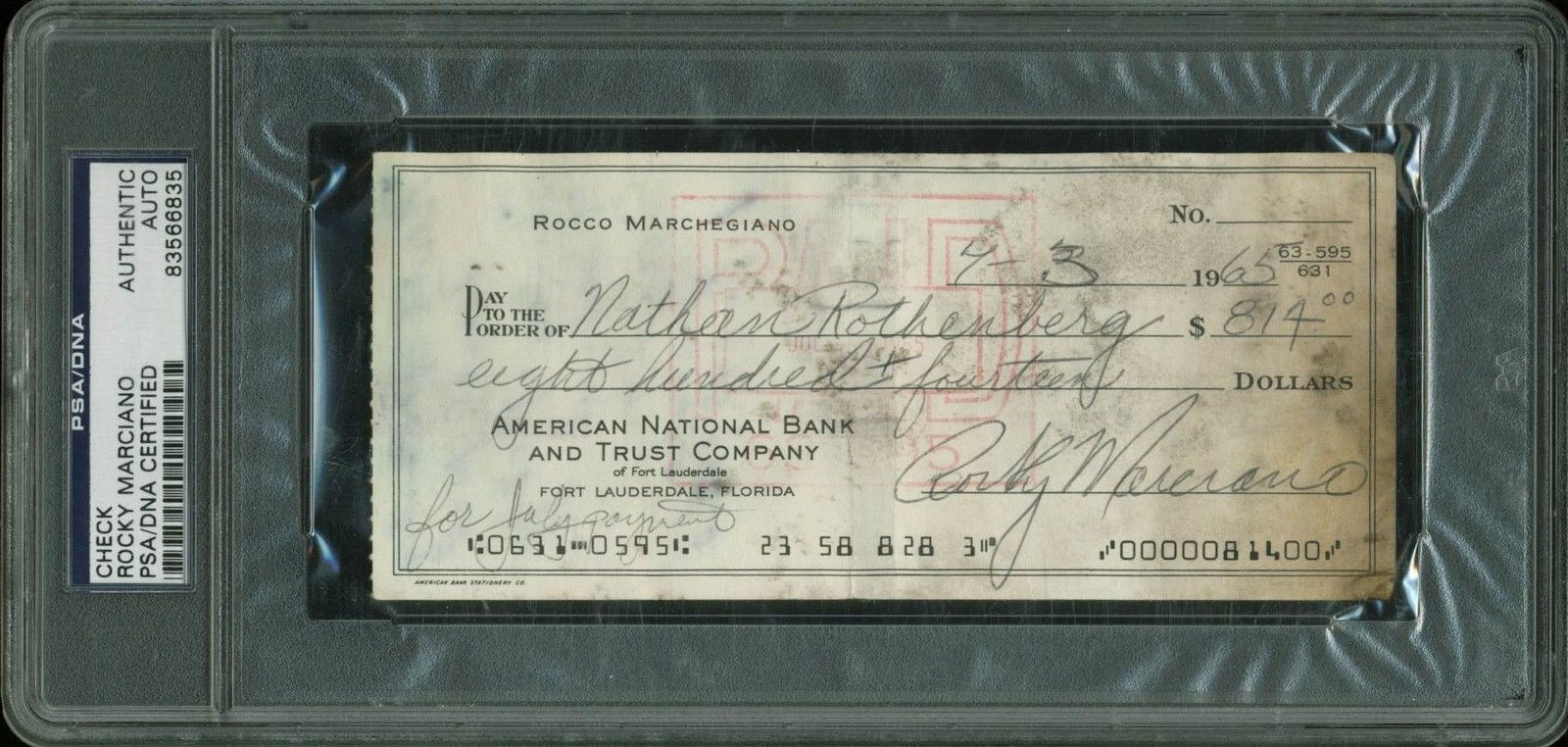 lot detail rocky marciano signed hand written 1965 bank check psa dna encapsulated. Black Bedroom Furniture Sets. Home Design Ideas