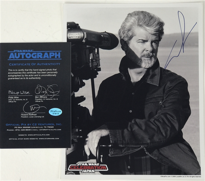 """Signed Autograph Moura Lucas Psg: Star Wars: George Lucas Signed 8"""" X 10"""" B&W"""