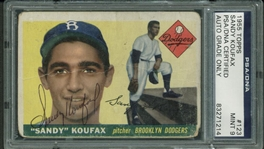 Sandy Koufax Signed 1955 Topps Rookie Card PSA/DNA Graded MINT 9!