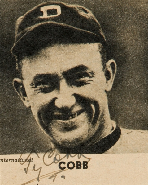 Ty Cobb Signed 2 x 2 B & W Tigers Photograph w/ ULTRA-RARE Smiling Image! (TPA Guaranteed)