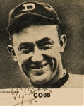 "Ty Cobb Signed 2"" x 2"" B & W Tigers Photograph w/ ULTRA-RARE Smiling Image! (TPA Guaranteed)"