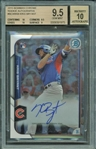 Kris Bryant Signed 2015 Bowman Chrome Rookie Card Beckett Graded 9.5 Card & 10 Auto!