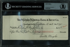 Orville Wright Superb Signed 1939 Bank Check (BAS/Beckett Encapsulated)