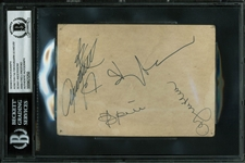 "ABBA Rare Group Signed 4"" x 6"" Promotional Photo (4 Sigs)(BAS/Beckett Encapsulated)"