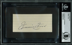"Jimmie Foxx Signed 2"" x 4"" Notebook Page Cut (BAS/Beckett Encapsulated)"
