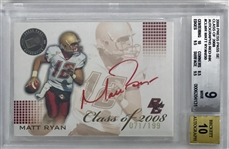 2008 Press Pass SE Matt Ryan Class of 2008 Autograph Ink #71/199 (BGS Mint 9, Auto Grade 10)