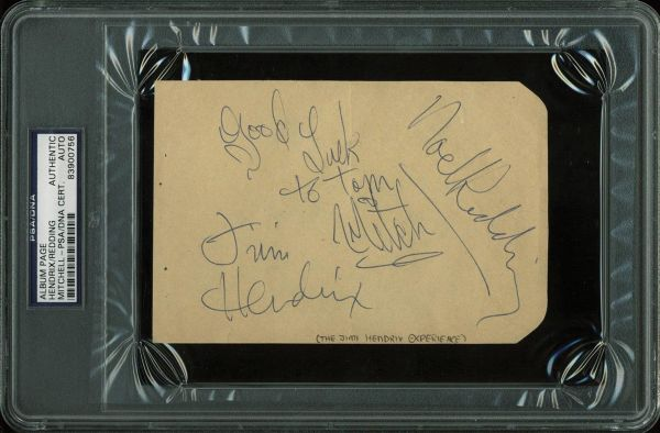 Jimi Hendrix Experience: Jimi Hendrix, Noel Redding & Mitch Mitchell Near-Mint Signed 4 x 6 Album Page (PSA/DNA Encapsulated)
