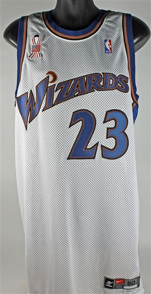 Michael Jordan 2001-02 Game Used Washington Wizards Jersey w/ 9/11 Commemorative Ribbon (Grey Flannel)