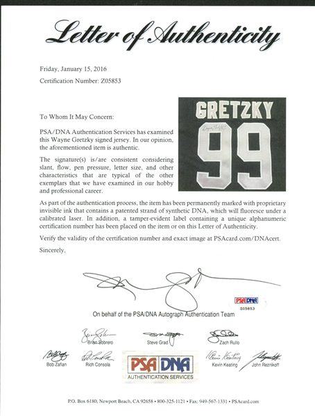 Wayne Gretzky Game Used/Worn 1990 LA Kings Jersey Mears Graded PERFECT A-10!