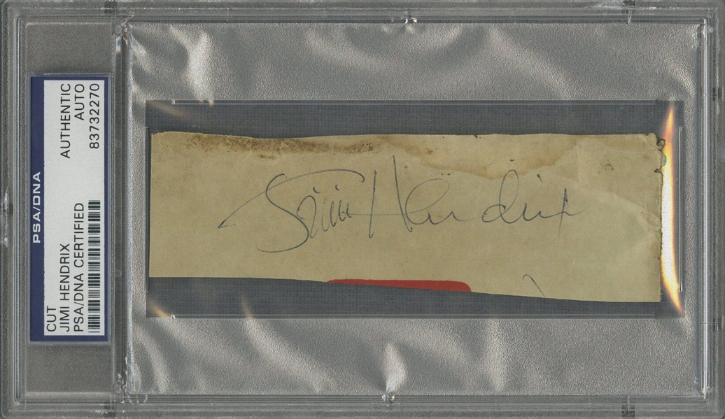 Jimi Hendrix Signed 1 x 3 Album Page (PSA/DNA Encapsulated)