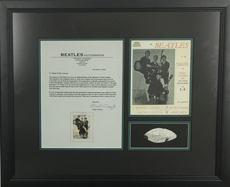 John Lennon Signed 2 x 3 Framed Program Page (Caiazzo & Beckett)