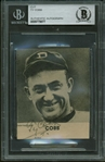 "Ty Cobb Signed 2"" x 2"" B & W Tigers Photograph w/ ULTRA-RARE Smiling Image! (Beckett/BAS Encapsulated)"