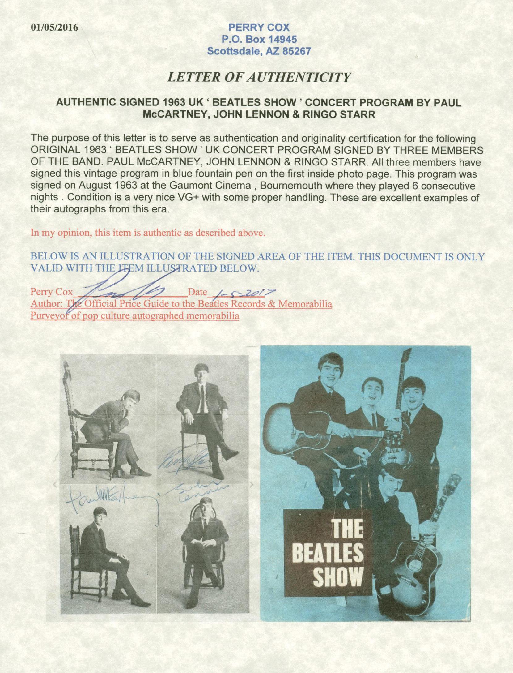 Lot Detail - The Beatles Group Signed 1962 Program w/ Lennon