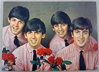 "The Beatles Group Signed 9"" x 12"" Color PYX Card Stock Photograph w/ All Four Members! (Beckett)"