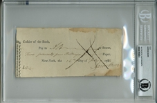 Aaron Burr Signed 1788 Bank Check, The Earliest We Have Ever Offered! (BAS/Beckett Encapsulated)