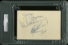 The Beatles Group Signed Menu Card c. 1965 w/ Lennon, McCartney, Harrison, and Starr (PSA/DNA Encapsulated)
