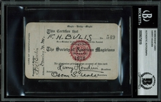 Harry Houdini Rare & Desirable Signed Society of Magicians Membership Card (BAS/Beckett Encapsulated)