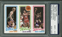 Larry Bird & Magic Johnson Signed 1980-81 Topps Rookie Card PSA/DNA Graded 9.5!