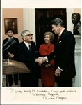 "President Ronald Reagan Signed 8"" x 10"" Color Photograph w/ Nancy! (Beckett)"