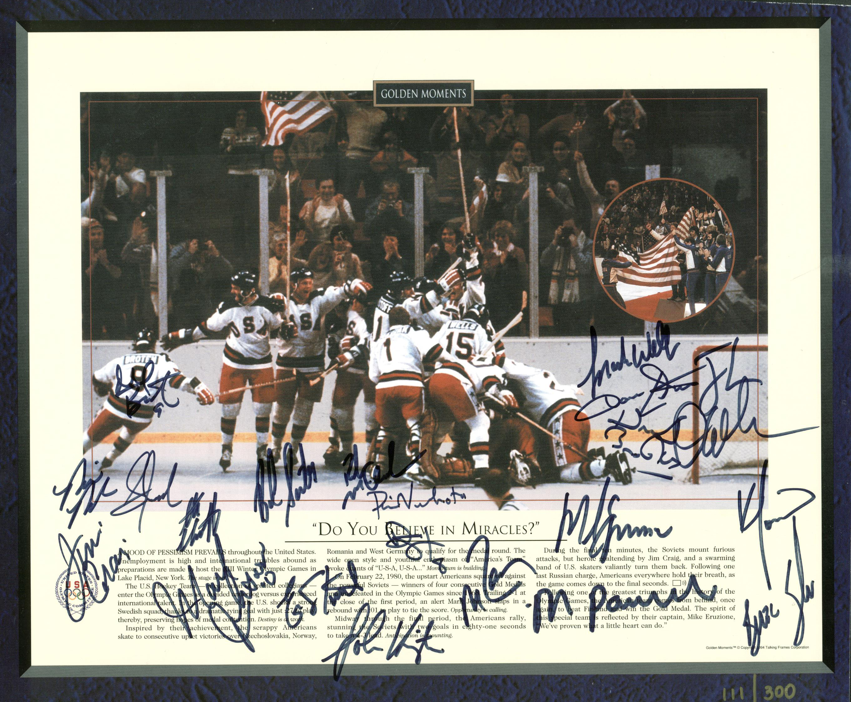 1980 us hockey team Sports illustrated call it the single most incredible moment in all of us sports history, a moment that sent the entire nation into a frenzy the sporting news said that american hockey came of age on feb 22-1980 when the usa hockey team took down the mighty red army hockey team from russia in.