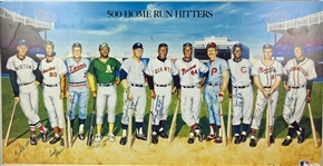500 Home Run Club Signed Ron Lewis Art Poster (11 Sigs) w/Mantle, Williams, etc (JSA)