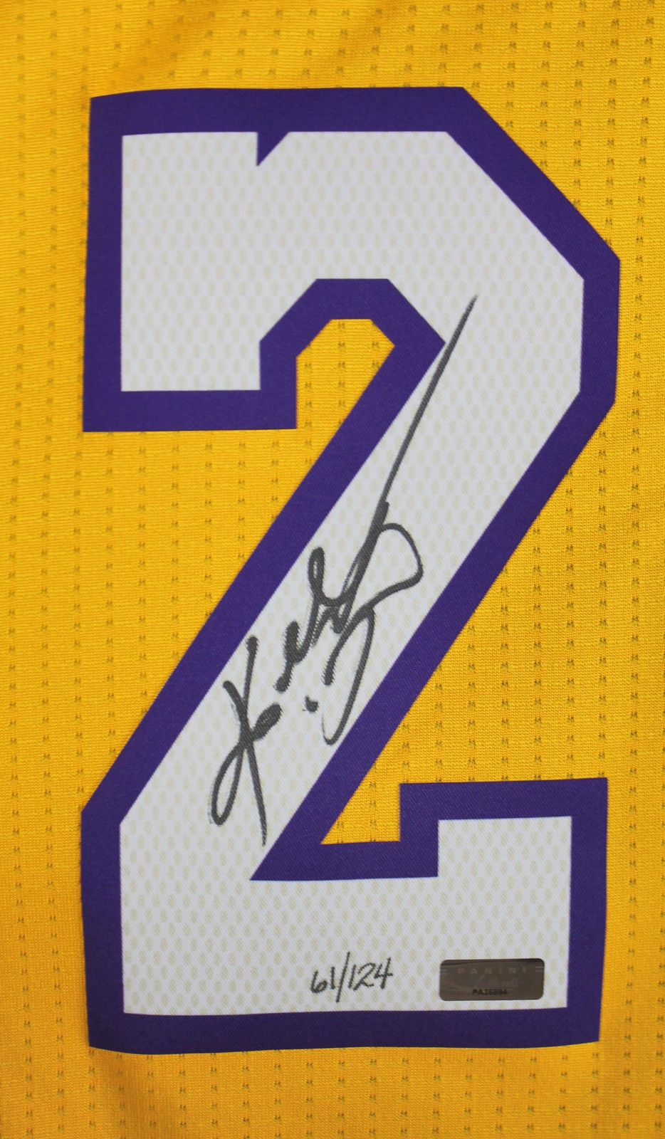 395bfb963 ... Kobe Bryant Signed Limited Edition LA Lakers Game Model Jersey with  Mamba Out Inscription (Panini ...