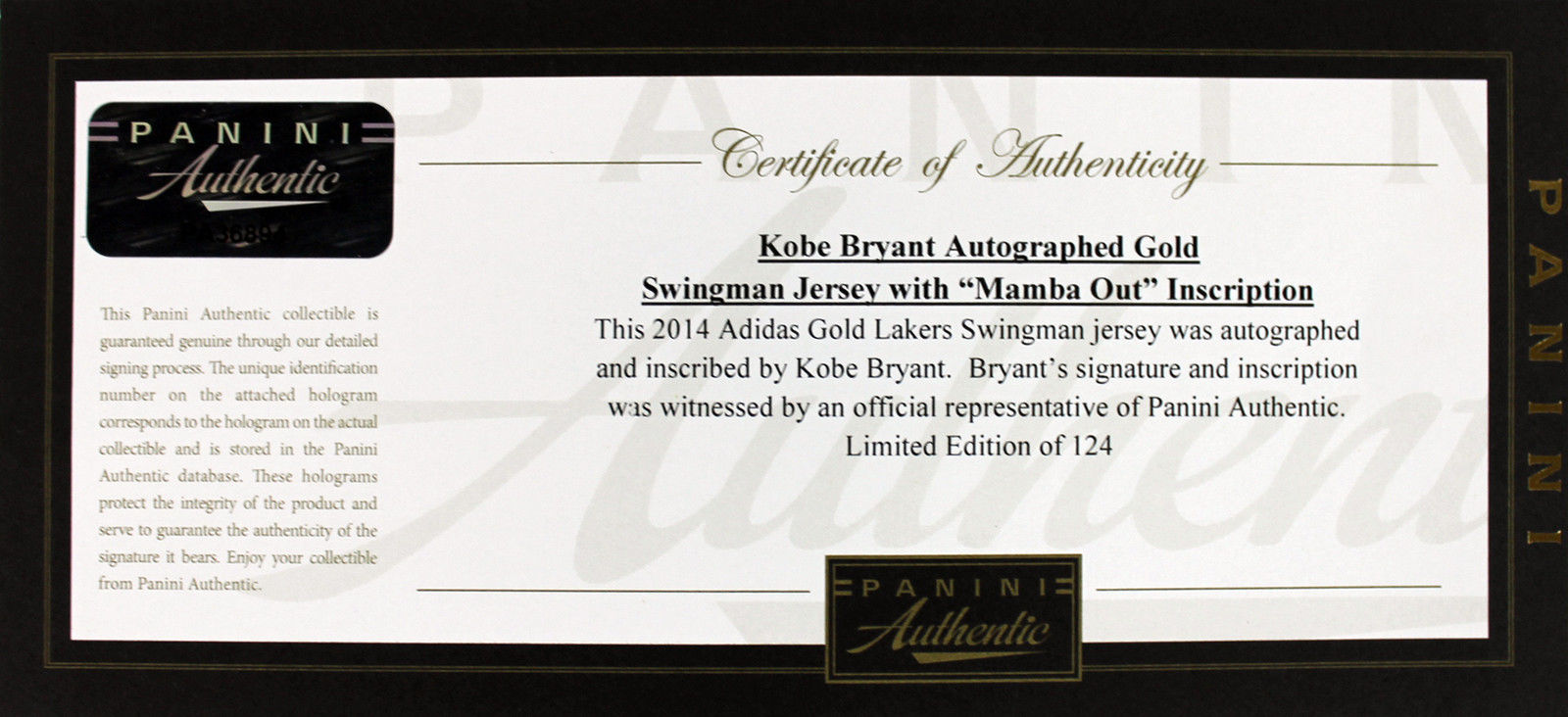 f1cbfc9c1 ... Kobe Bryant Signed Limited Edition LA Lakers Game Model Jersey with  Mamba Out Inscription (Panini