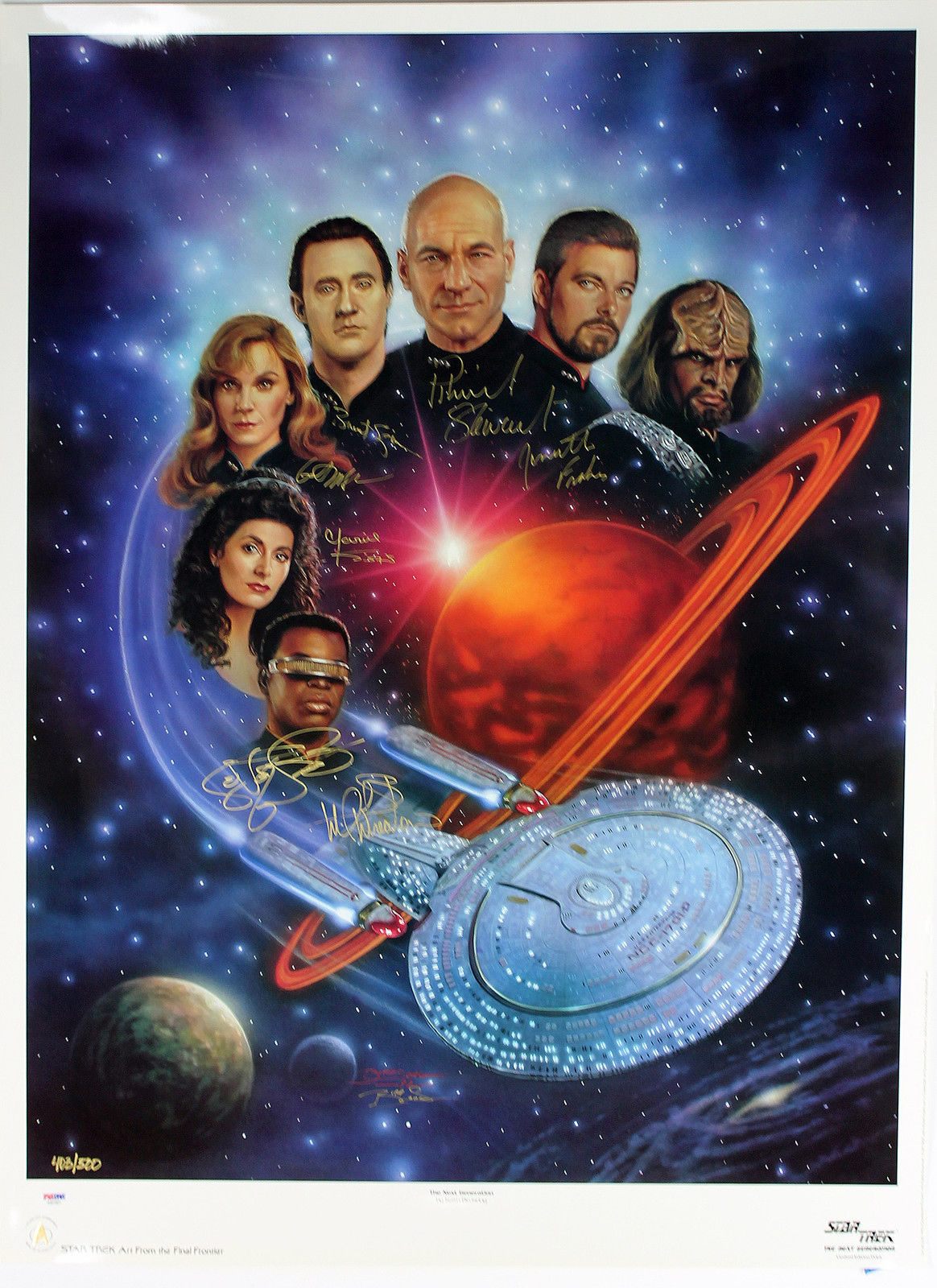 Star Trek The Next Generation Cast Signed 26 X 35 Lithograph Poster W 7 Signatures
