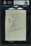 "Charles M. Schulz Signed & Hand Drawn 4"" x 5"" Snoopy Sketch (Beckett/BAS Encapsulated)"