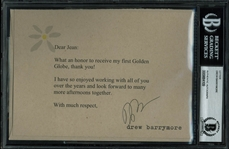 "Drew Barrymore Signed 5"" x 7"" Thank You Postcard (BAS/Beckett Encapsulated)"