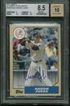 Aaron Judge Signed 2017 Topps 87 Retro Baseball Card BGS 8.5 w/ Gem Mint 10 Auto!