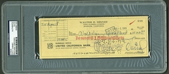 "Walt Disney Impressively Signed 1963 Bank Check To ""Special Account"" (PSA/DNA Encapsulated)"