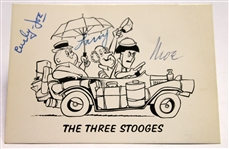 The Three Stooges Vintage Group Signed Card w/ Curly, Larry, and Moe (BAS/Beckett)