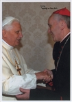 "Pope Francis Extraordinary Signed 5.75"" x 8.25"" Color Photo During Meeting with Pope Benedict XIV! (Beckett/BAS)"