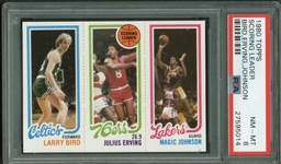1980 Topps Scoring Leader Bird, Erving, Johnson PSA Graded NMMT 8