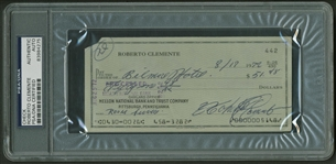 Roberto Clemente Signed & Hand Written Personal Bank Check (PSA/DNA Encapsulated)