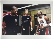 "Michael Jordan, Magic Johnson & Larry Bird Signed 40"" x 30"" Rare Oversized Canvas Print (UDA & PSA/DNA)"