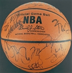 NBA Legends Multi-Signed Basketball w/ Jordan, Bryant, Duncan, Iverson, Garnett & Others (JSA)